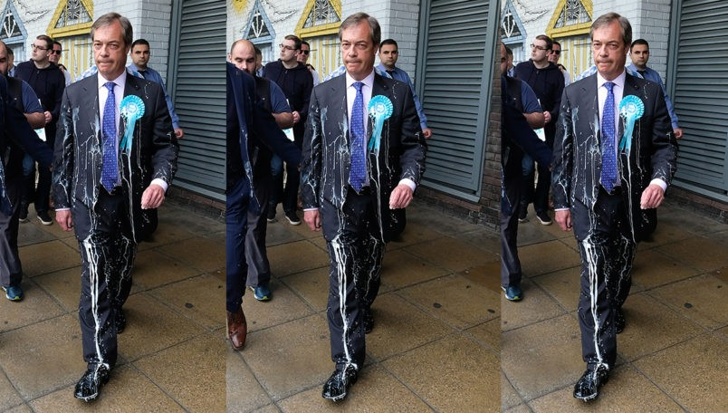No One Seems To Feel Bad About Nigel Farage Getting Hit With A Milkshake
