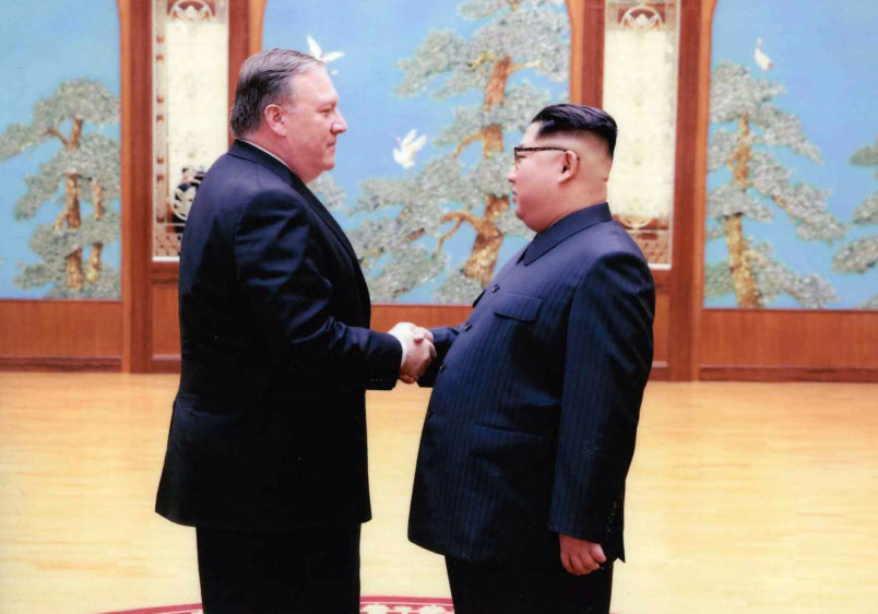 PYONGYANG, NORTH KOREA - APRIL 25: In this handout provided by The White House, CIA director Mike Pompeo shakes hands with North Korean leader Kim Jong Un in this undated image in Pyongyang, North Korea. Pompeo, now Secretary of State spoke with Kim for more than an hour during the Easter weekend. (Photo by The White House via Getty Images)