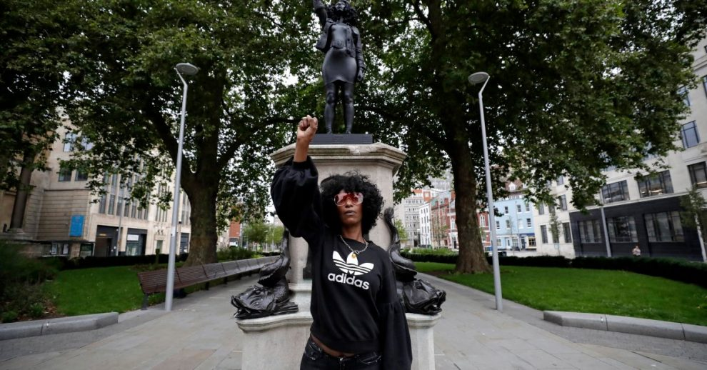 Statue of Black Protester Replaces Sculpture of Slave Trader That Was Torn Down and Dumped in U.K. Harbor