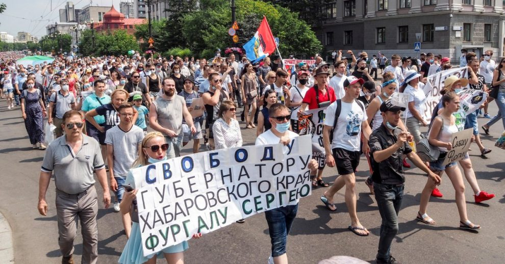 Tens of Thousands of Protesters Challenge the Kremlin in Far East Russian City