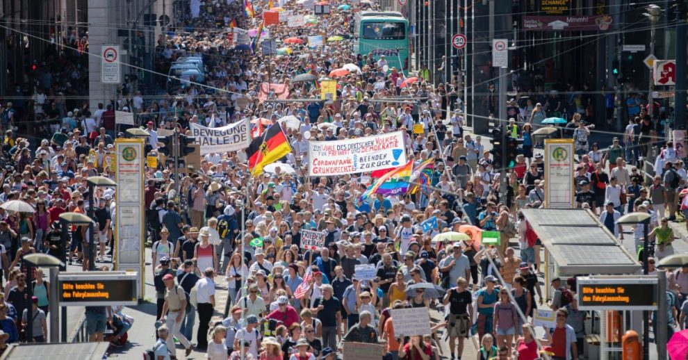 Thousands Protest Against Coronavirus Restrictions in Berlin