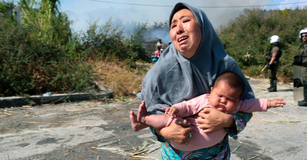 Thousands of Asylum Seekers Left Homeless After Fires Destroy Overcrowded Refugee Camp in Greece